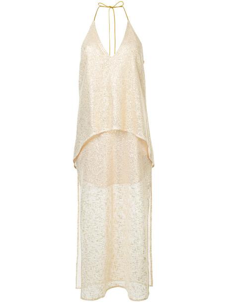 Manning Cartell dress women cotton grey metallic