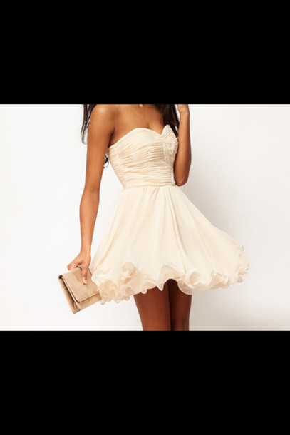 dress white strepless champagne dress white dress cute dress tumblr outfit marriage