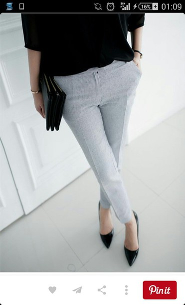 pants chic grey pants