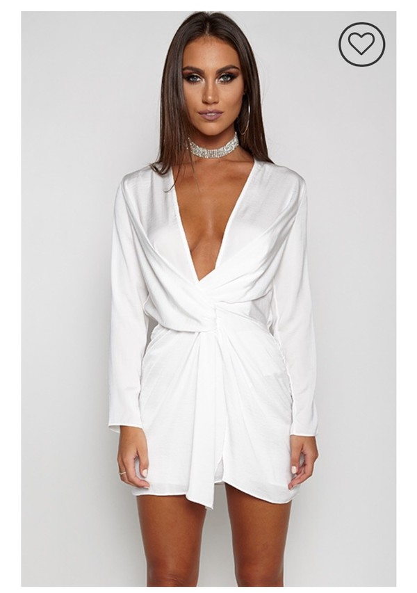c89a7fbdb73a Missguided - Silky Plunge Wrap Shift Dress Nude