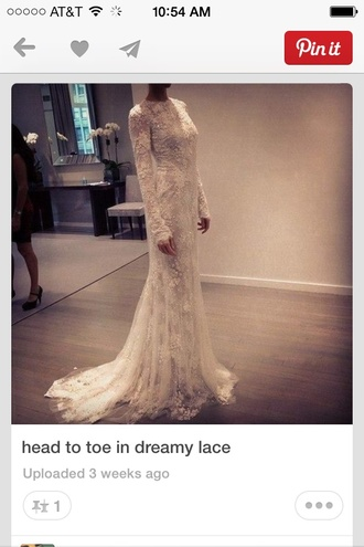 dress lace dress wedding dress long sleeve dress