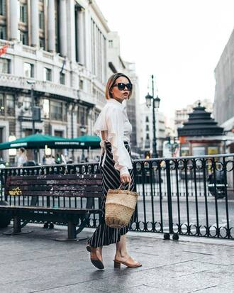 top white top tumblr open back backless backless top bag basket bag shoes mules skirt midi skirt asymmetrical asymmetrical skirt black sunglasses sunglasses