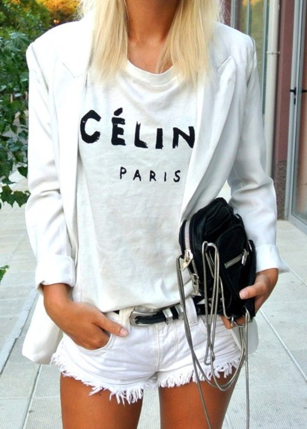 shirt blouse blazer white bag shorts t-shirt celine jacket