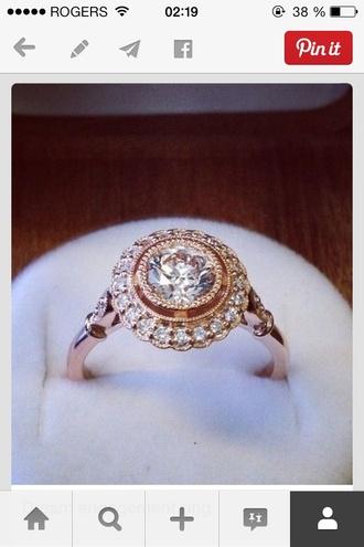 jewels vintage engagement ring rose gold ring