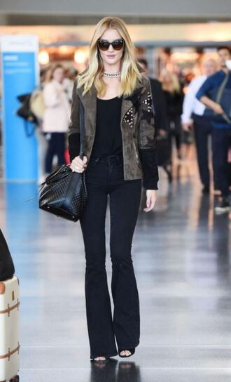 jacket top rosie huntington-whiteley jeans flare pants flare jeans fall outfits