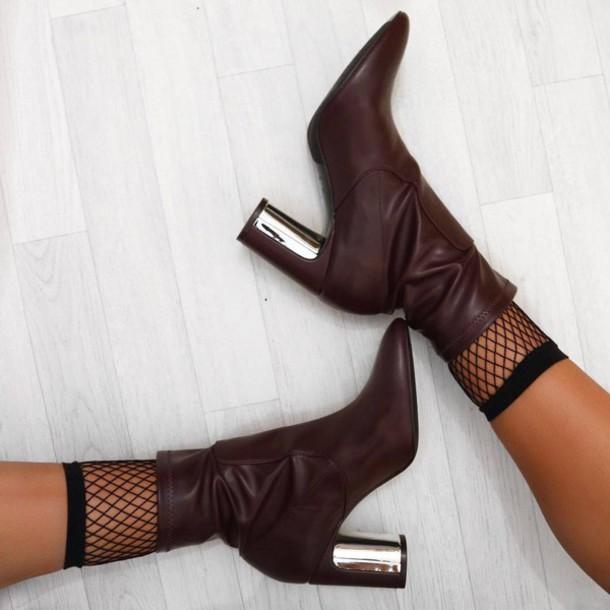 d28503512291 shoes tumblr fishnet socks socks brown boots boots ankle boots sock boots  high heels boots thick