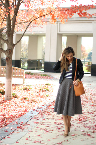 lilly's style blogger jacket bag sunglasses midi skirt flare skirt striped shirt