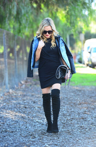 thehuntercollector blogger jacket dress shoes bag sunglasses denim jacket thigh high boots mini dress