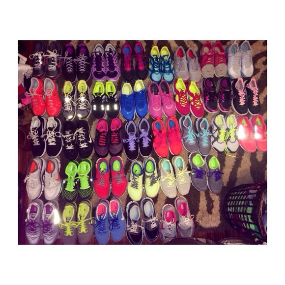 shoes nike nike running shoes nike sneakers neon nike free run colorful nikes cute running shoes fitness