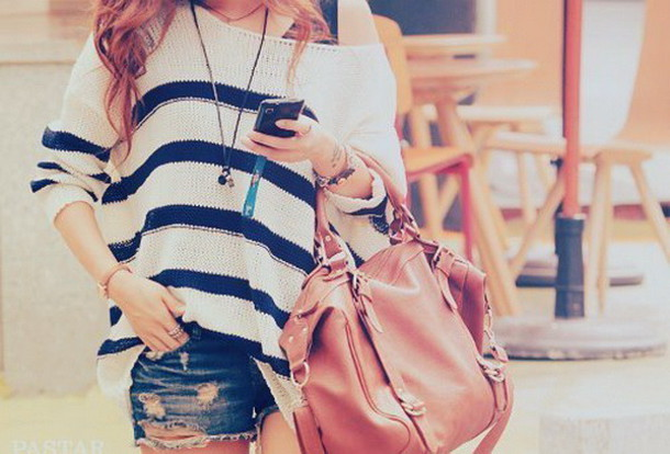 shirt clothes sweater white blue bag