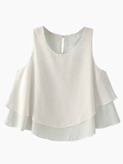 White Two Layered Chiffon Crop Top | Choies