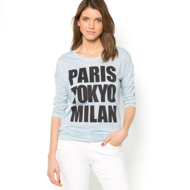 T-shirt manches longues à message Soft Grey | La Redoute