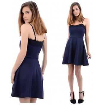 navy dress navy celebrity style evening dress night dress clubwear lace dress skater dress