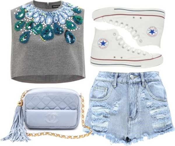 tank top crop tops jeweled top cut off top shorts bag