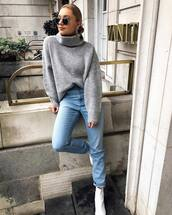 sweater,turtleneck sweater,knit,jeans,white boots,ankle boots,earrings,sunglasses