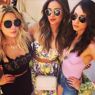skirt ashley benson pretty little liars floral crop tops shay mitchell troian bellisario swimwear sunglasses top