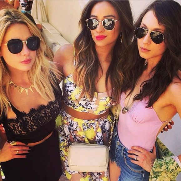 skirt ashley benson pretty little liars floral crop tops shay mitchell troian bellisario swimwear sunglasses