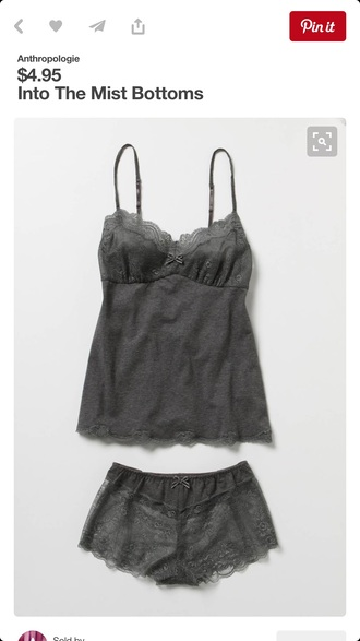 pajamas grey tank top sleepwear lingerie lingerie set comfy sexy lace lace shorts see through pajamas shorts and shirt