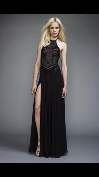 dress black slit long dress halter halter-neck fitted
