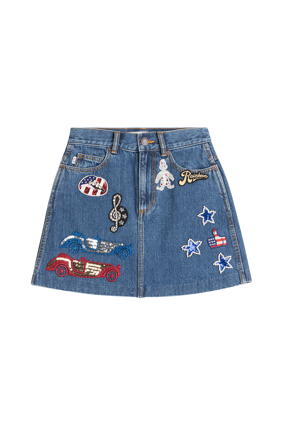 Jacobs - High-Waisted Denim Skirt with Embellished Patches