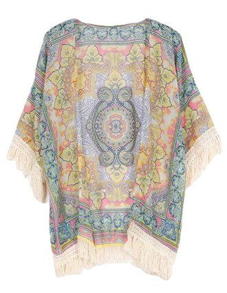 cardigan brenda-shop kimono floral kimono pattern tribal pattern summer beach fringes tassel boho vintage