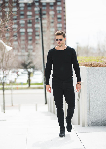 Sweater: hello his blogger shoes menswear black top black