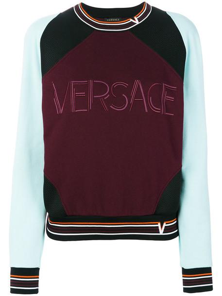Versace - Contrast Colour sweatshirt - women - Cotton/Polyester - 46, Pink/Purple, Cotton/Polyester
