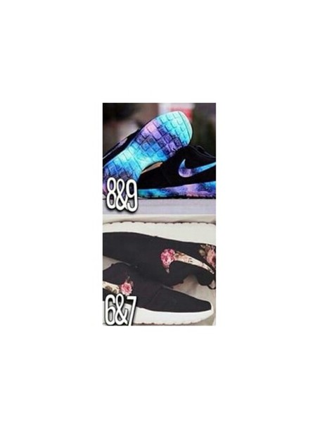 shoes nike shoes galaxy shoes flower shoes black