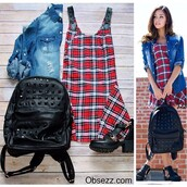 dress,obsezz,plaid,plaid dress,sleeveless,flare,flare skirt,fashion,style,belt,belt detailing,red,white