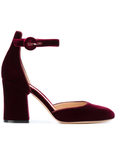 Gianvito Rossi heel ankle strap women pumps leather velvet red shoes