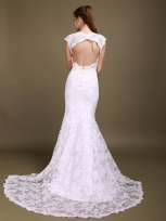 Buy Fabulous White Sheath Lace Wedding Dress with Capped Sleeves under 300-SinoAnt.com