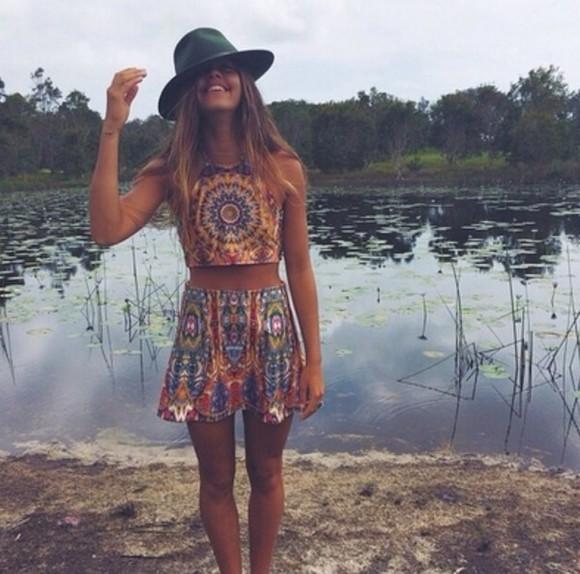 boho dress skirt crop tops