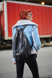 jacket,tumblr,blue jacket,shearling jacket,shearling,backpack,black backpack,denim,jeans,black jeans,red hair,hairstyles,short hair,nyfw 2017,fashion week 2017,fashion week,streetstyle