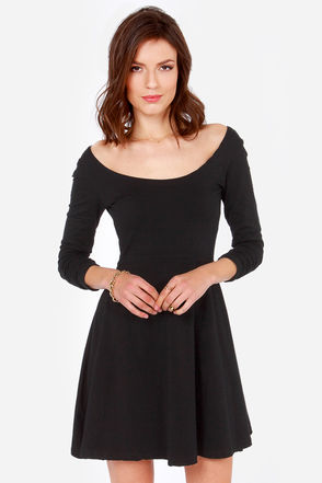 Cute Black Dress - Skater Dress - Long Sleeve Dress - $32.00