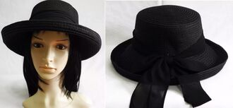 hat fedora black ribbon bow goth straw straw hat fashion cute dark nu goth summer summer hat fashion hat fashion hats