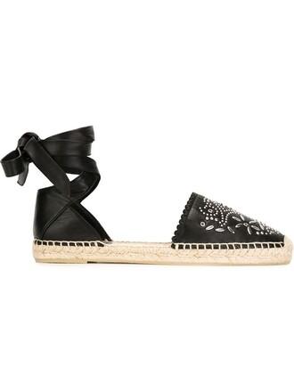 studded espadrilles floral black shoes