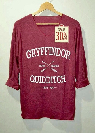 shirt bordo dark red hogwarts griffendor quidditch nerd girl gryffindor harry potter