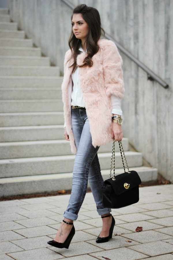 fashionhippieloves coat blouse jeans belt shoes bag jewels fur coat pink fur coat black bag skinny jeans black high heels