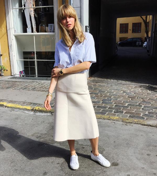 look de pernille blogger shirt skirt shoes