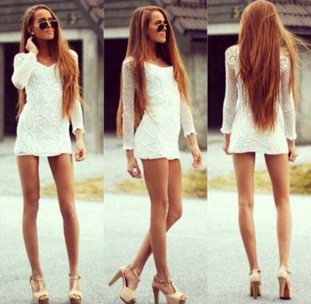 dress very cute lace dress white dress white short dress little white dress