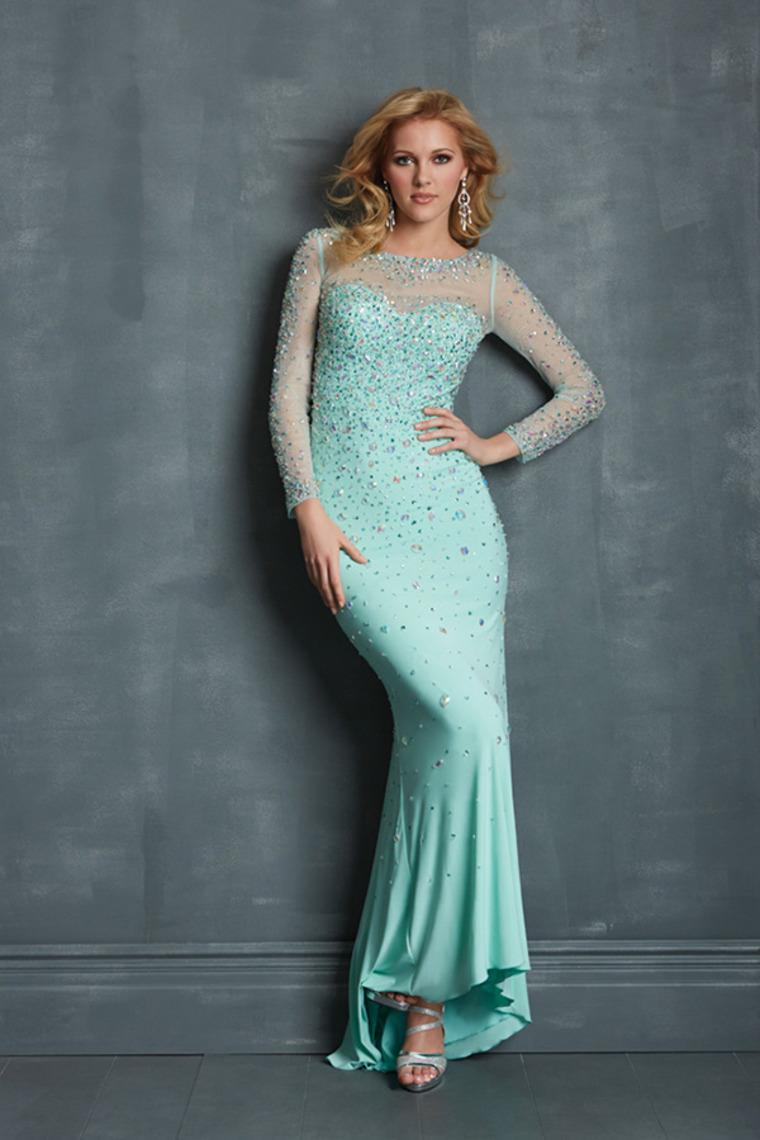 Wholesale cheap 2014 scoop neckline full sleeves rhinestone beaded bodice mermaid chiffon prom dresses on sale