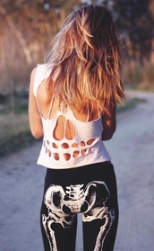 pants,black,white,tights,skeleton,pelvis,thigh bones,graphic tee,science,tank top,shirt,white skull,cutout back,skelet,cool,skeleton shirt,scull,cut-out,ombre,grunge,skull,leggings,jeans,teenagers,bones,halloween,tumblr