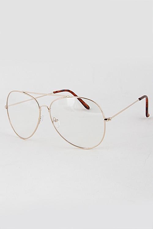 Clear Gold Frame Large Nerd Frame Aviators Glasses
