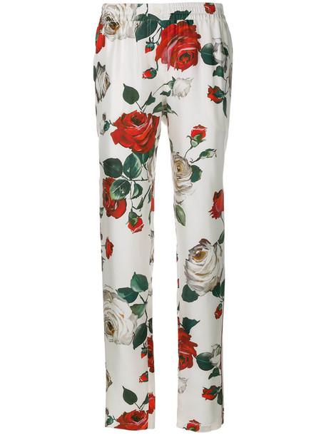 rose women white print silk pants