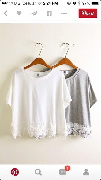 shirt lace lace shirt gray white vintage cute shirt color lace trim cotoure