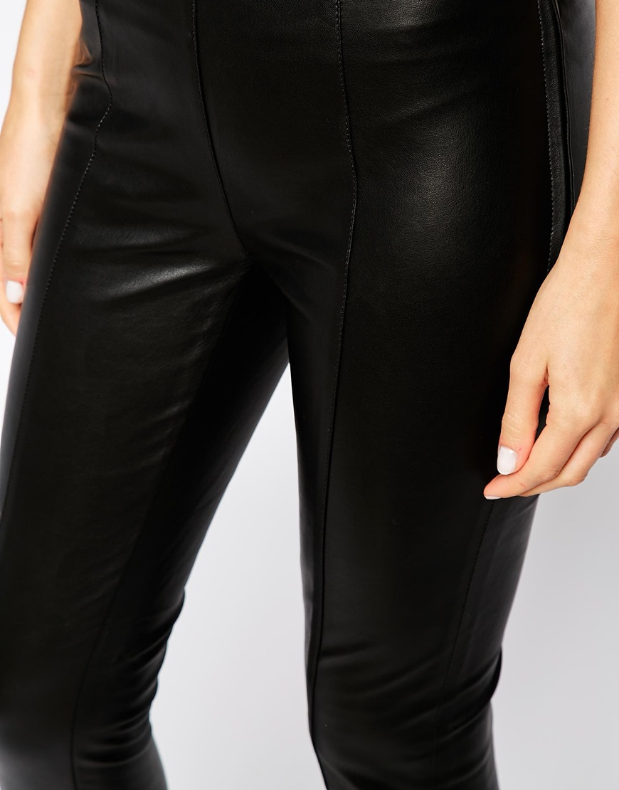 Warehouse faux leather leggings at asos.com