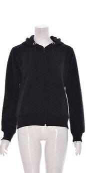 coat,women quilted long sleeve hoody black