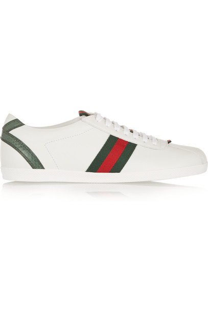 d7bc4e90 Gucci New Ace Watersnake-Trimmed Leather Sneakers in white
