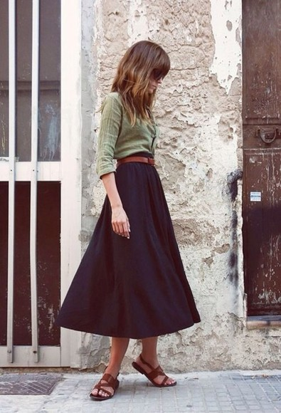 maxi skirt navy green midi blouse