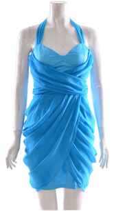 dress,womens satin bodycon chifon roman style pleated silk dress blue